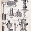 Vintage illustration of Lamp Mechanics from Meyers Konversations Lexikon 1913 Encyclopedia.  Antique digital download of old print - lamp; light; mechanical; machine; hardware; steampunk.  The natural age-toning, paper stains, and antique printing imperfections are preserved in this 1900s stock image.