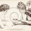 Vintage 1900s Sepia Art Deco Gibson Girl Illustration of Women U