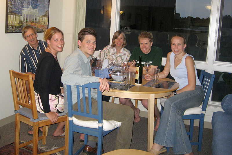 July 2007: Edie and her boyfriend Brendan join us for dinner during Mom and Papa's Princeton visit