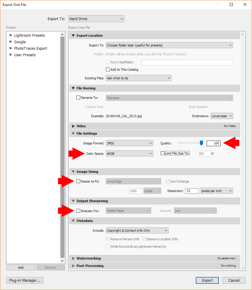 Lightroom Export Settings for High-Resolution Images