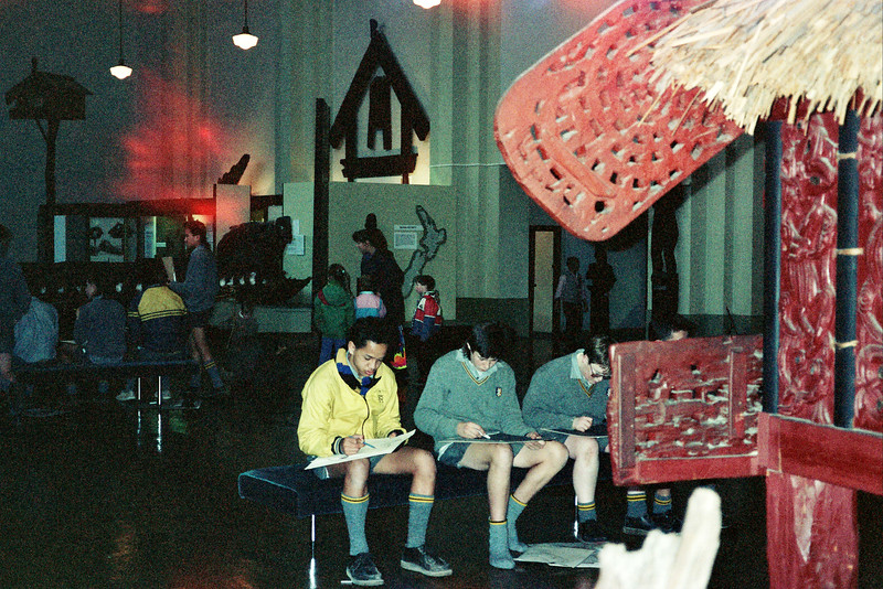New Zealand. Students in a museum.
