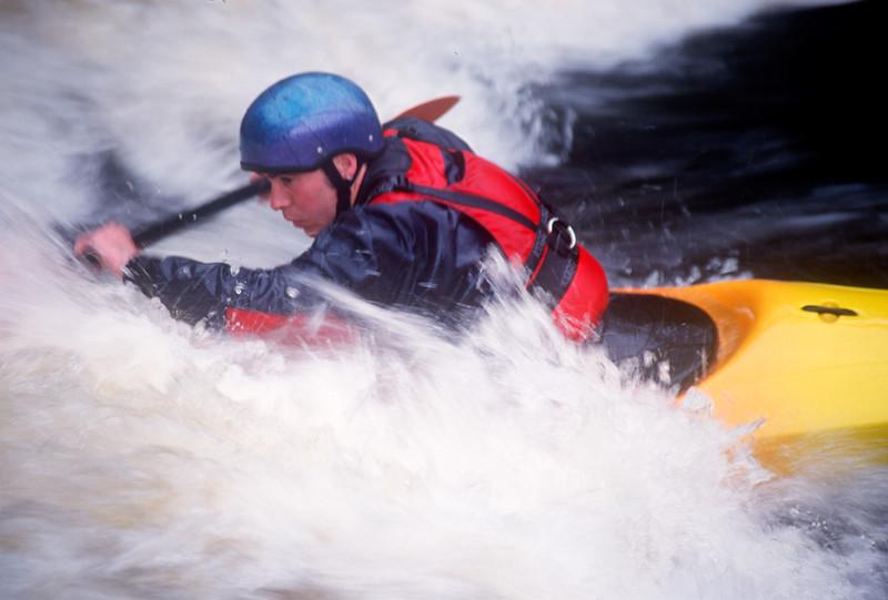 White Water Slalom Canoeing, Bala, Snowdonia, North West Wales
