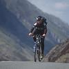 Mountain Biking, Cyclist on Pen y Pass, near Snowdon Mountain, Snowdonia, North West Wales