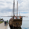 10K Volksmarch in Corpus Christi: replica of one of Columbus' ships at the Lawrence Street T-Head. 12 Jan 2014.