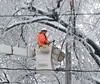 A PECO Lineman cuts ice-laden broken branches away from power lines in North Wales Borough on Wednesday afternoon February 5,2014. Photo by Mark C Psoras/The Reporter