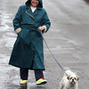 Joan Murphy of Ayer walks her three-year-old Shi-tzu/Lhasa apso mix, Sparky, down Grove Street in the rain. Murphy got her eye-catching shoes on clearance at the Mall at Whitney Field in Leominster.  (SUN/Julia Malakie)