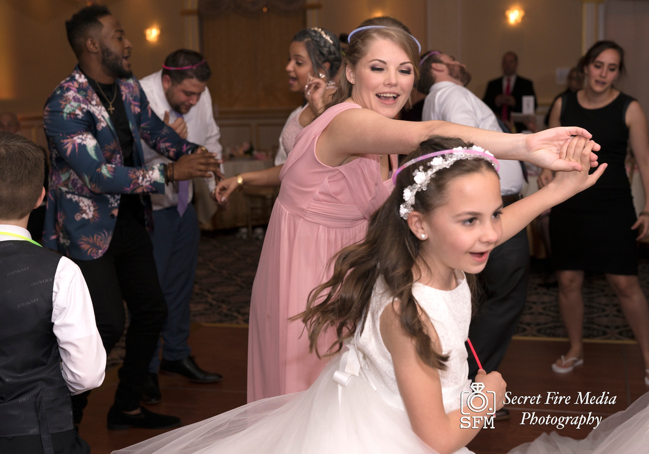 Bridesmaids dancing at a Hudson Valley Wedding At Palacios in Goshen New York