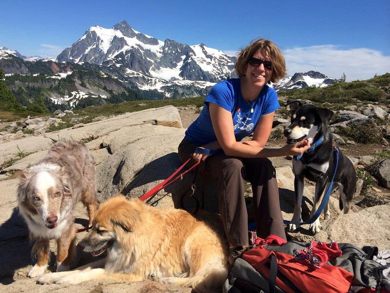 Jeanne and dogs at Mt Baker