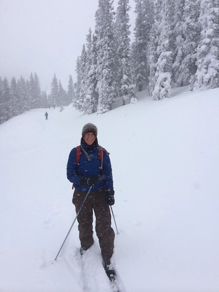 Jeanne cross country skiing at Monarch Pass