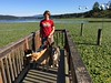 Jeanne on Lake Samamish pier with dogs
