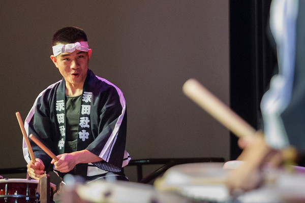 Record-Eagle/Pete Rodman<br /> Tony Nguyen performs with Nagata Shachu during an educational program the a Japanese Taiko and music group at the Dennos Museum's Milliken Auditorium. The group will have held a total of four educational performances for students throughout the region to help educate them about traditional Japanese drumming and music before their scheduled regular performance at the auditorium at 8:00 p.m. on Friday, April 17.