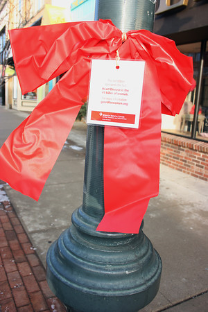 Record-Eagle/Loraine Anderson One of the more than 100 red ribbons tied around Front Street lamp posts remind area residents that heart disease is the top killer of women, as it is also for men.  February is heart health awareness month.