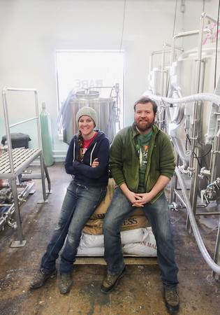 Record-Eagle/Keith King Nate Crane, left, and Tina Schuett, owners, in the brewhouse at Rare Bird Brewpub which they're currently working on completing.