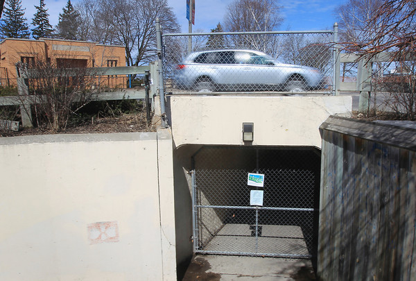 Record-Eagle/Keith King A vehicle travels on Grandview Parkway Wednesday, March 27, 2013 over the Cass Street pedestrian tunnel leading to Clinch Park.