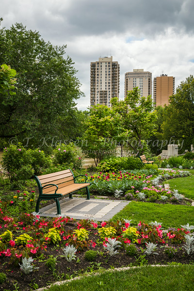 Flower gardens at the Manitoba Legislative buildings along the  Assiniboine River in Winnipeg, Manitoba, Canada.
