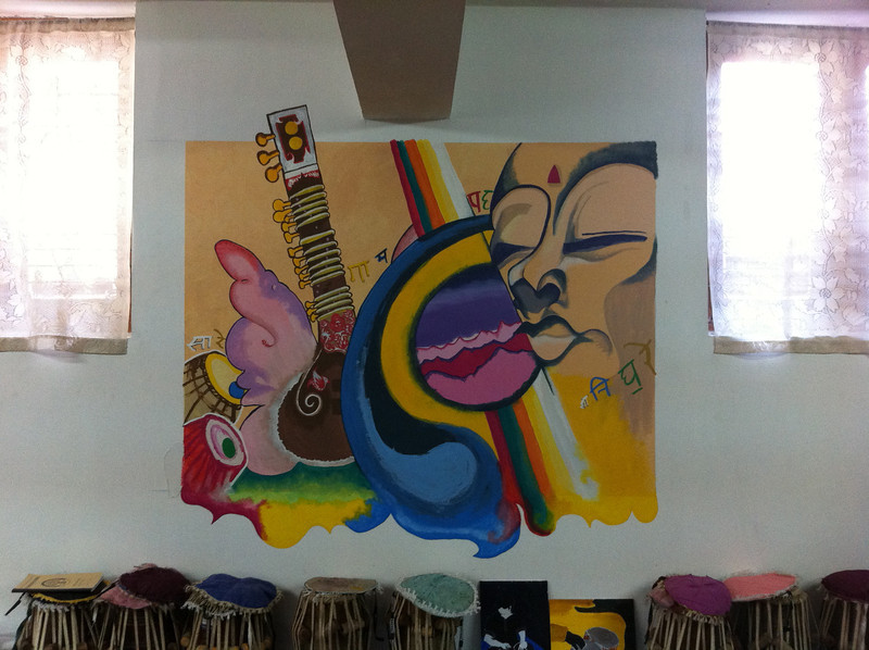 mural by Rossella Laeng in the Woodstock School Indian music room