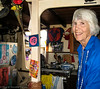 Jane was surrounded by her art works and memorabilia.