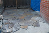 patio remodel, setting flagstone, July 2013