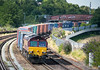 100714  66091 rounds the curve between St Denys and Mt Pleasant with the 4O21 09:17 Trafford Park-Western Docks