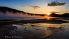 """The sun sets behind Twin Buttes (7923' - 2415m) with Grand Prismatic Spring below, in Yellowstone National Park's Midway Geyser Basin. Captured with a Canon 5D III and 17-40/4.0L in aperture priority mode with an exposure bias of +2/3 at ISO100, f/16, and 1/20th of a second. The camera was mounted on a Gitzo 3540 XLS with an Arca-Swiss z1 ballhead. A Singh-Ray Filters LB Circular Polarizer was used to remove the glare off of Grand Prismatic Spring.<br /> <br /> This shot is another that I have thought about for years, but having the sun set in the right position only happens for a short period each spring and fall. In a matter of weeks the sun will set between the Twin Buttes, but then the boardwalk that is just out of the frames right edge would get in the way of a good composition. This image in particular is one that I would have loved the opportunity to legally capture with a low flying drone, but even before it was illegal in all national parks I had asked the park service about using one and was told """"no.""""<br /> <br /> If you examine my settings, you will see that I used an aperture value that is higher than I need to achieve a hyperfocal distance of 10' (what I needed for this shot was f/10 while I used f/16). This was done to guarantee a nice sunburst when the sun hit the edge of Twin Buttes and the horizon."""