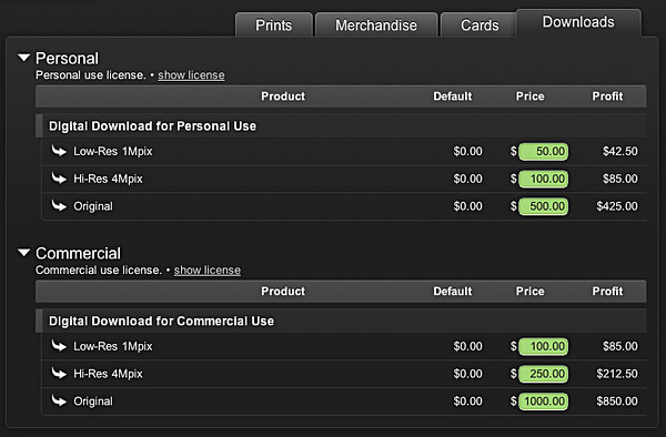 Pricing digital downloads
