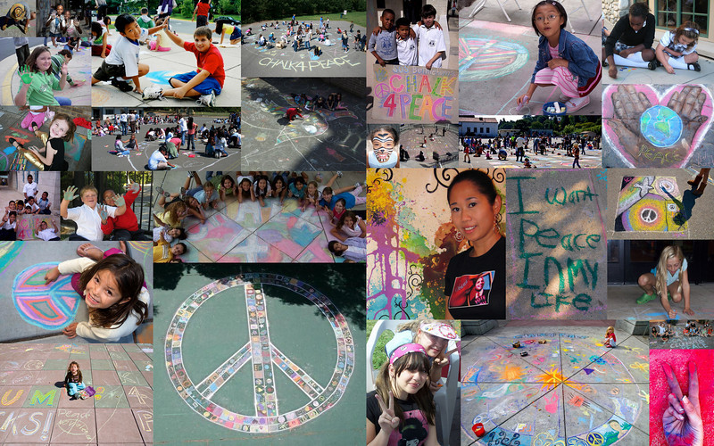 Photo: Collage of Images from Chalk4Peace events