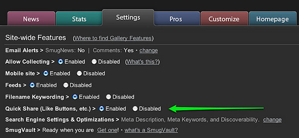 SmugMug Control Panel Settings