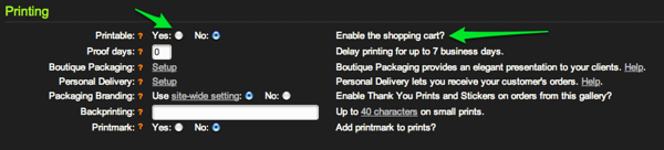 Enable SmugMug's shopping cart