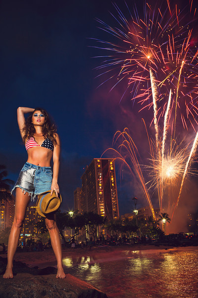 Fireworks and model in denim by Dallas Nagata White