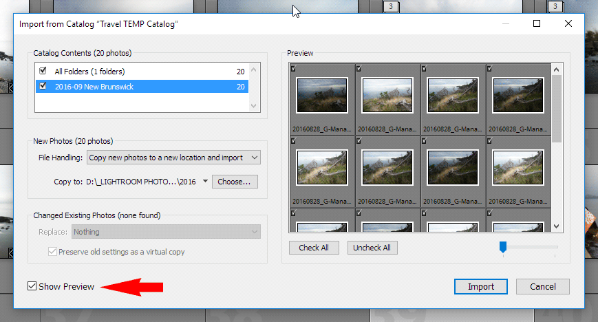 Merging Lightroom Catalogs - Show Preview