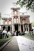 Wide shot portrait of a couple getting married at the Woodruff-Fontaine house in downtown Memphis, TN.