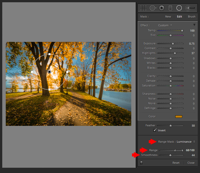 Lightroom Range Mask -