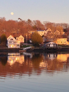 View from Back Bay Cottage at sunset, Boothbay Harbor, Maine