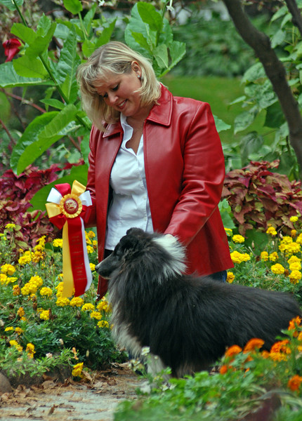 "Sara Leonard with her beautiful Shetland Sheep Dogs : ""Sunday"" ""Image"" and ""Coal"""