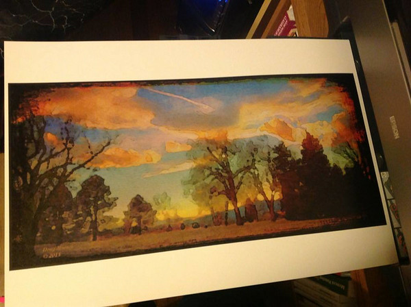 City Park Contrail, Photo Illustration. © 2013, Doug Moench. Printed on Epson Velvet, textured matte paper.
