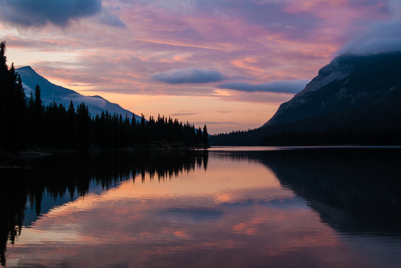 Sunset over Elizabeth Lake, Glacier National Park