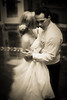 Stylized sepia portrait of a newly wed couple dancing in Gallaway, TN.