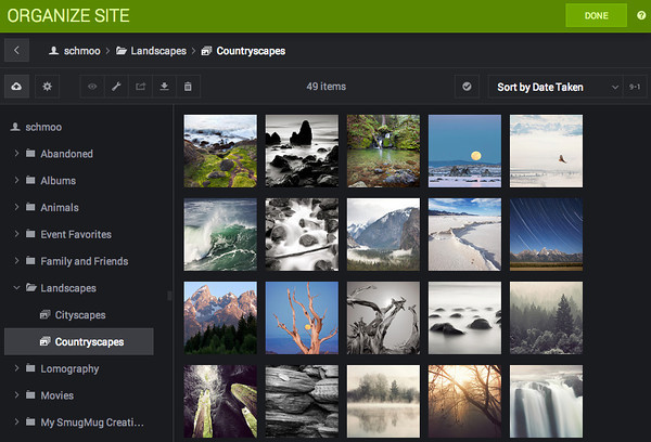 SmugMug's new drag and drop Site Organizer