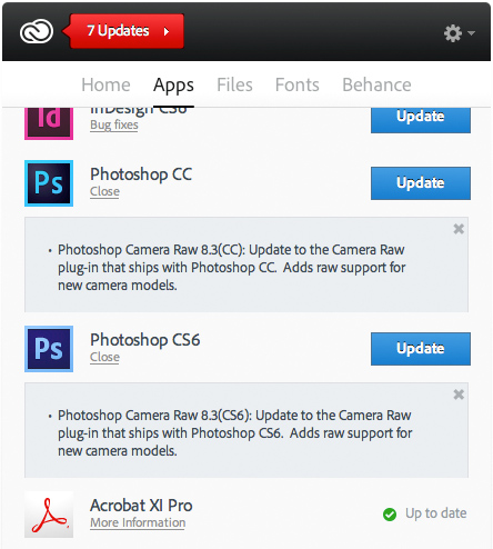 Creative Cloud updater showing Camera Raw 8.3 update