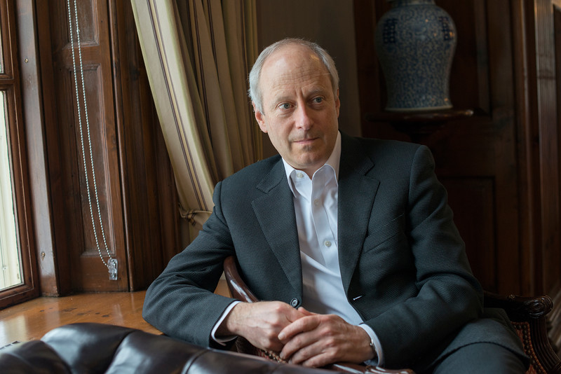 """CAMBRIDGE, MA, USA - MARCH 8:  Professor Michael Sandel, author of """"What Money Can't Buy"""", in his office at Harvard University, Cambridge, MA. (Photos by Tsar Fedorsky/Getty Images for Stern)"""
