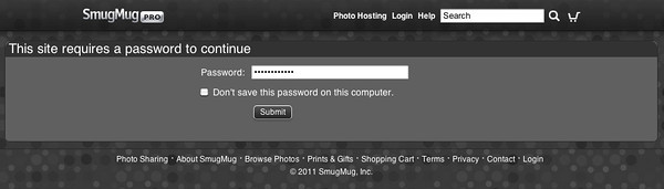 Site-wide passwords on your SmugMug account