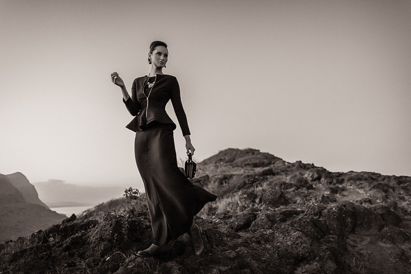 Sepia mountain fashion photo by Dallas Nagata White