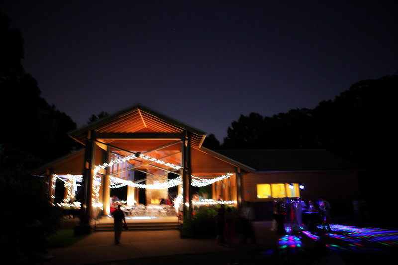 Stylized portrait of the reception hall at night at Lichterman Nature Center in Memphis, TN.
