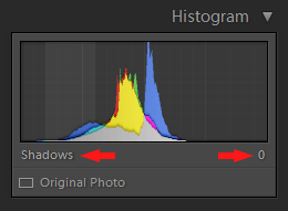 Lightroom Histogram - Shadoes