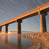 Star trails over the intakes at Oahe Dam
