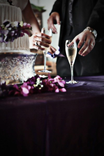 Stylized portrait of a bride and groom reaching for glasses next to the cake in Memphis, TN.