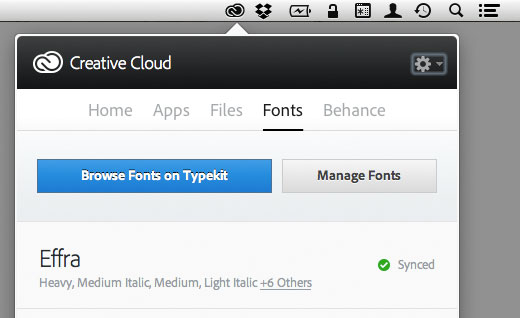 Creative Cloud desktop application and TypeKit