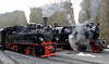 99 5901 & 99 6001-4, Alexisbad, Fri 11 February 2011 1 - 1319.    Both locos blow off as they prepare for a double departure.