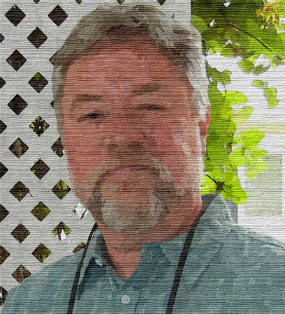 Portrait of the Artist on wood. Photo Illustration, © 2012, Doug Moench.