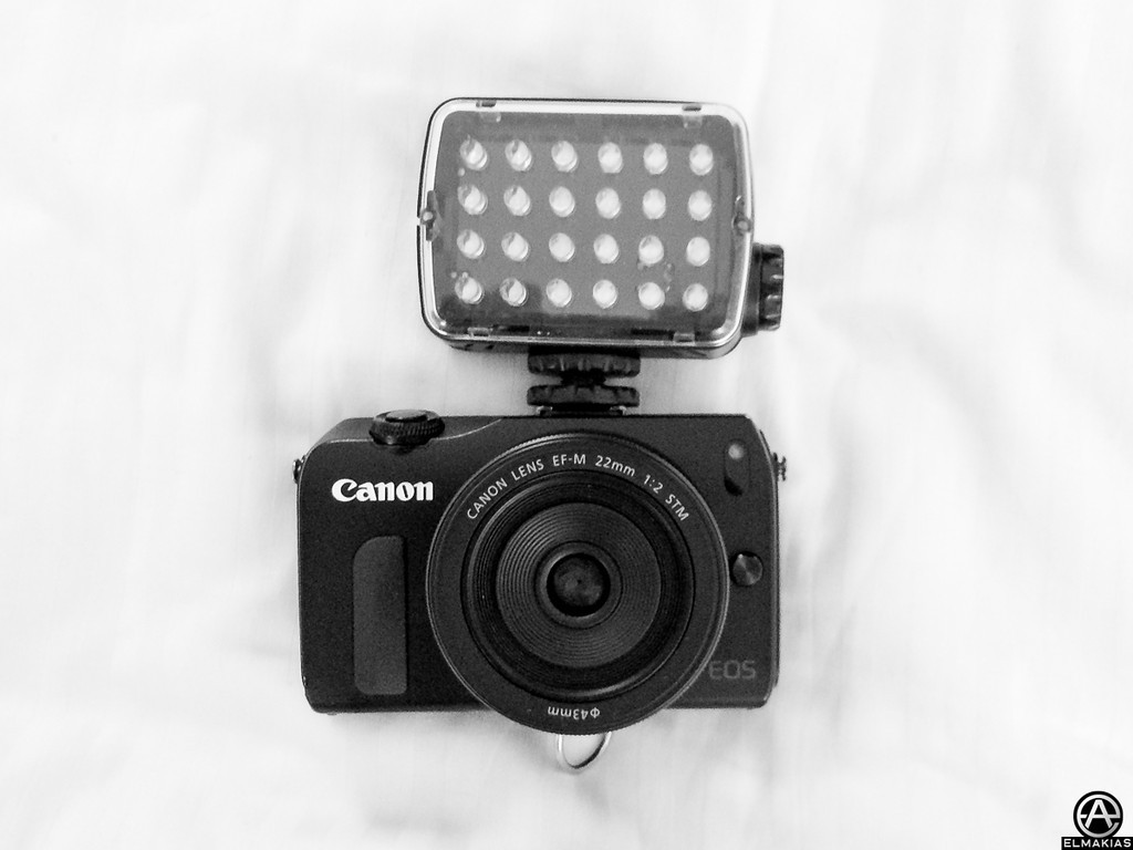 Canon EOS M with Mount Adapter and Sigma 15mm Fisheye lens, Manfrotto ML240 Mini-24 LED Panel